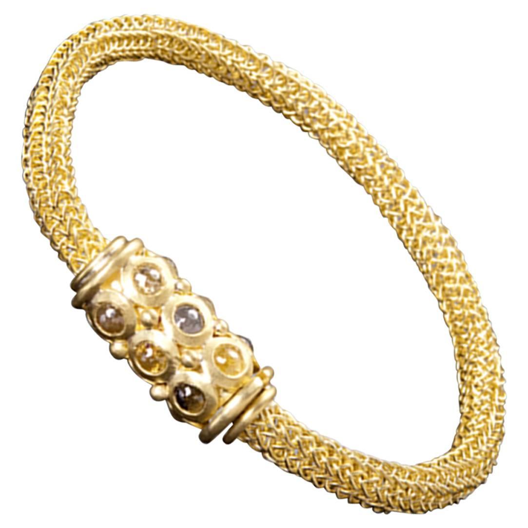 Faye Kim 18k Hand Crocheted Raw Diamond Gold Bracelet