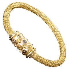 Faye Kim 18k Hand Crocheted Raw Diamond Gold Bracelet