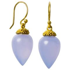 Faye Kim Chalcedony Gold Acorn Drop Earrings