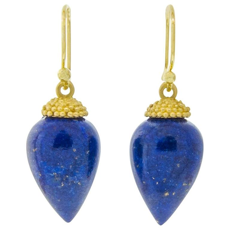 Lapis Gold Acorn Drop Earrings For