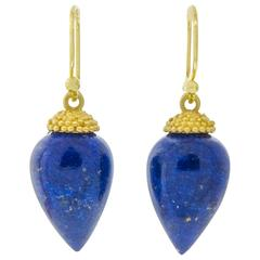 Lapis Gold Acorn Drop Earrings