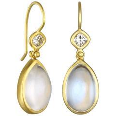 Faye Kim Gold African Moonstone Diamond Gold Hinge Earrings