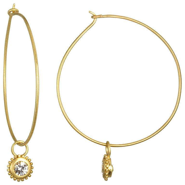 Faye Kim Gold Wire Hoop Earrings With Removable Diamond Drops For