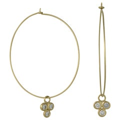Faye Kim 18k Gold Wire Hoops with Triple Diamond Drops