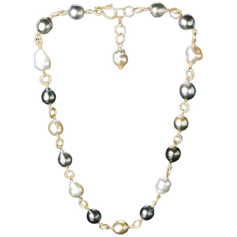 Faye Kim Multicolored South Sea, Black Tahitian Baroque Necklace