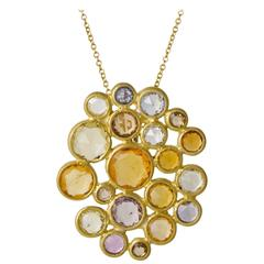 Faye Kim Multicolored Sapphire Diamond Confetti Statement Pendant