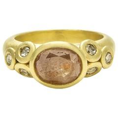 Faye Kim Diamond Gold Blush Diamond Bezel Ring