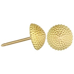 Faye Kim 18k Gold Granulated Dome Stud Earrings