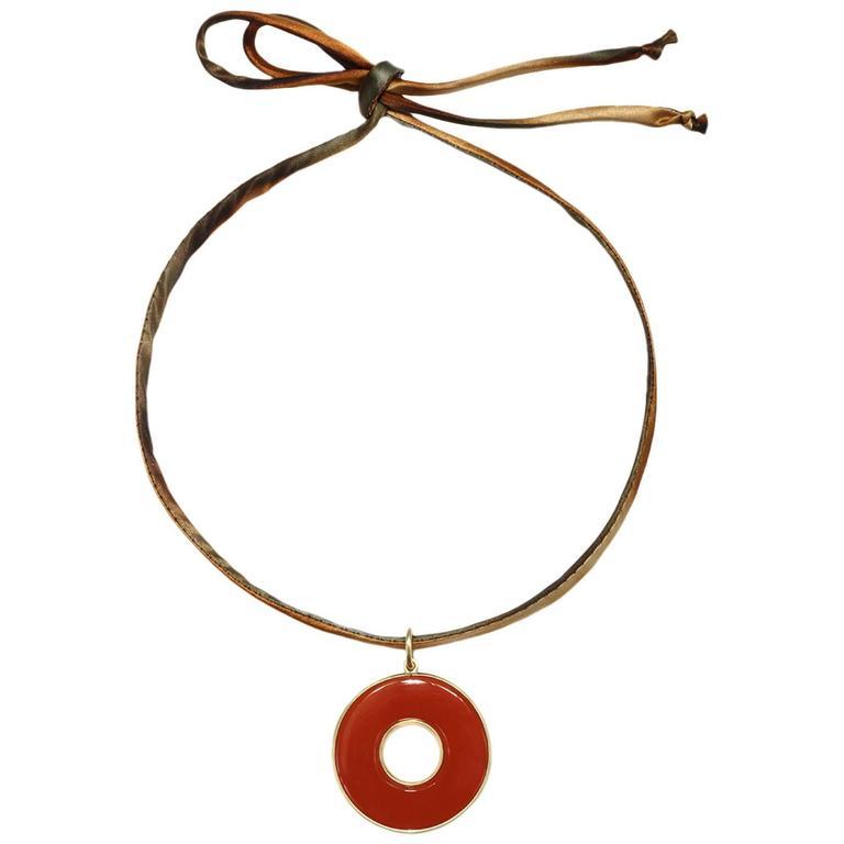 Faye Kim Handcrafted Carnelian Circle of Life Pendant