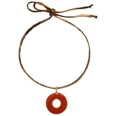 Faye Kim 18k Gold Handcrafted Carnelian Circle of Life Pendant