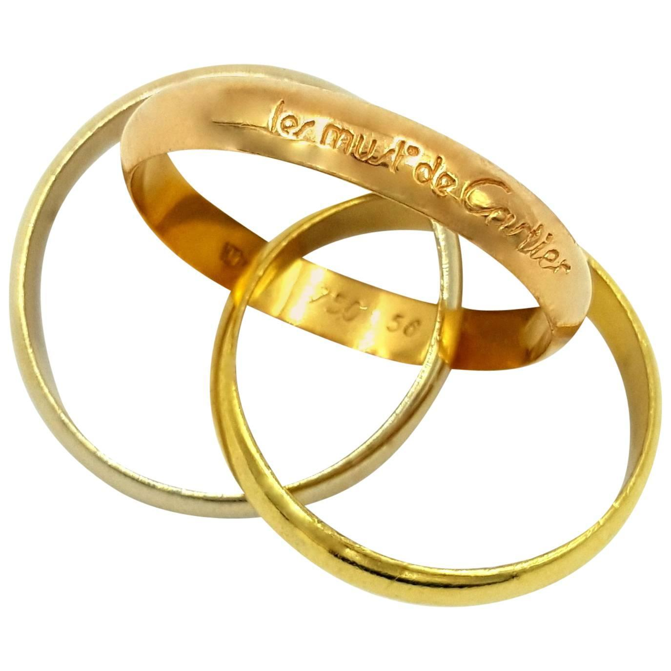 cartier tricolor gold rolling bands wedding ring