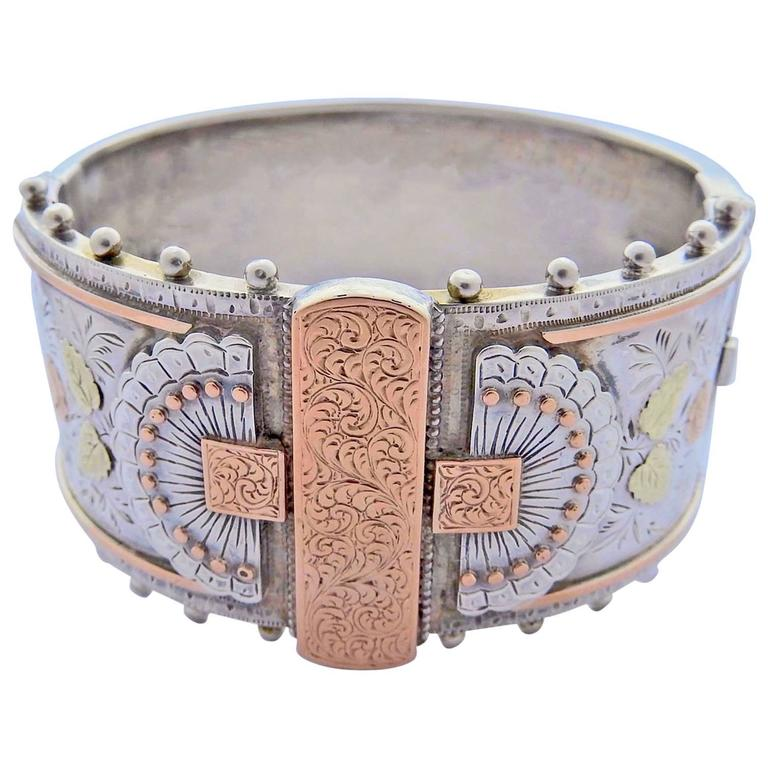 Antique Victorian Silver & Gold Cuff Bracelet