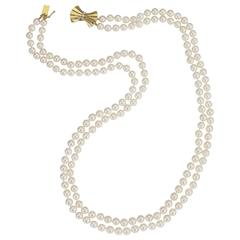 Classic Double Strand Cultured Pearl Necklace With Diamond Gold Bow Clasp
