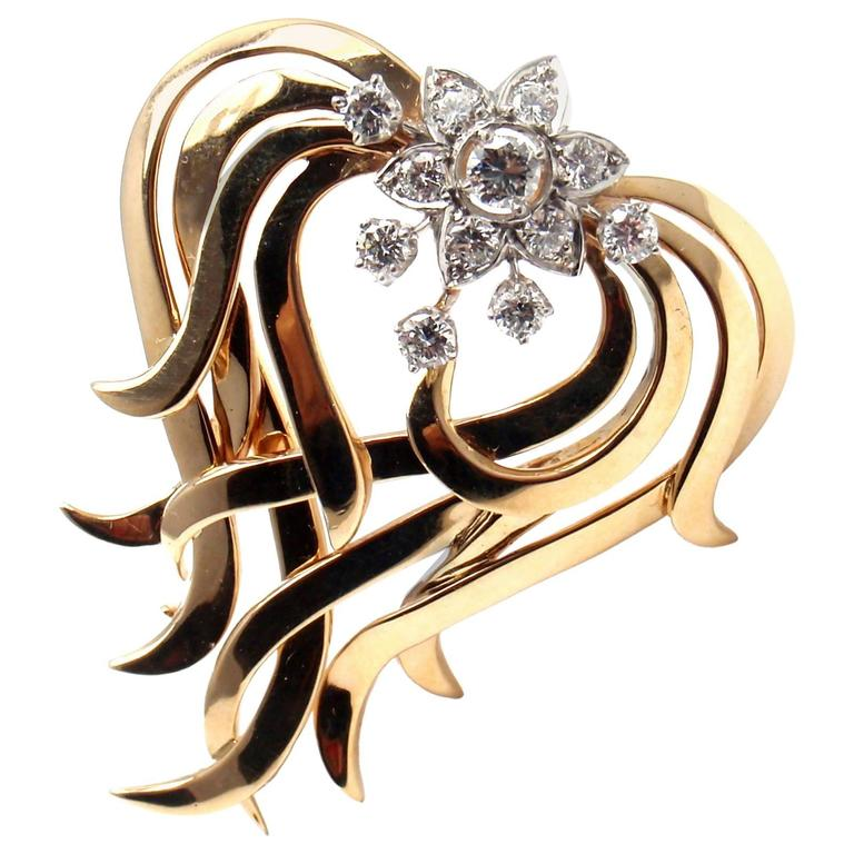 Tiffany & Co. Diamond Gold Platinum Pin Brooch