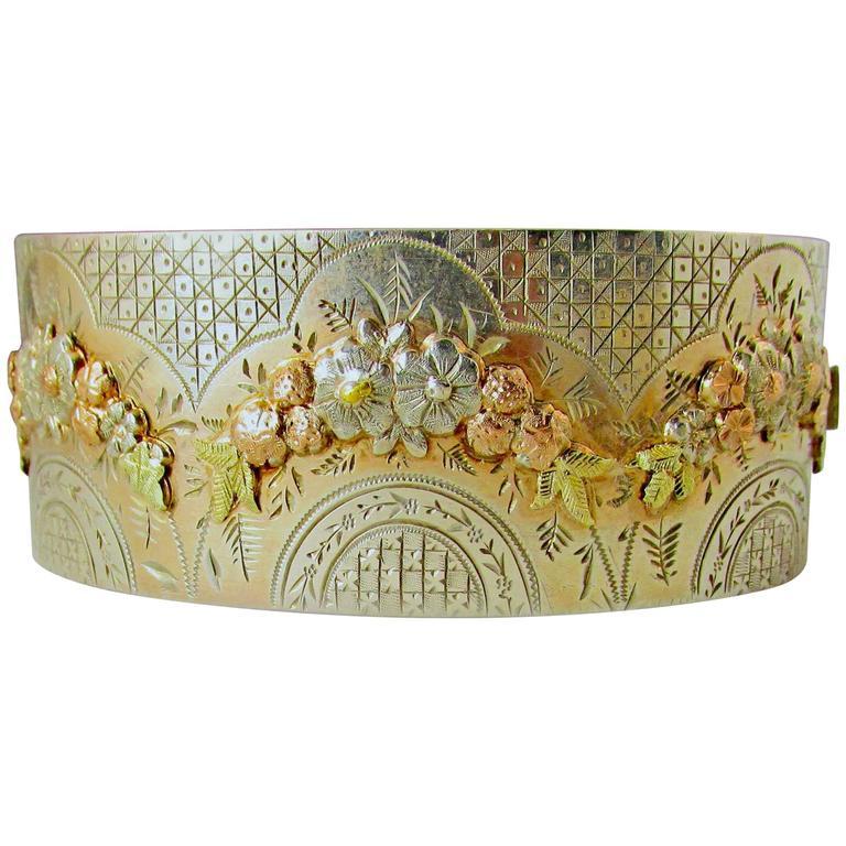 Antique Silver Two Color Gold Floral Motif Bangle Bracelet