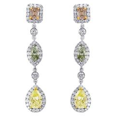 Pink Yellow and Green Diamond Three Color Gold Drop Earrings