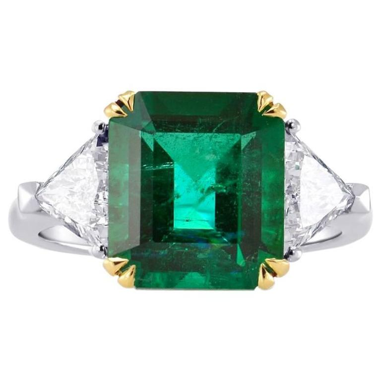 Green Emerald Gemstone Triangle Diamonds Two Color Gold