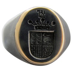 Antique Steel and Gold Signet Ring