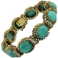 La Triomphe Organic Design Turquoise Diamond Twisted Gold Bracelet
