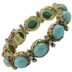 La Triomphe Floral Design Turquoise Diamond Gold Bracelet