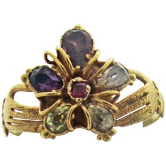 Antique Multi-Stone Gold Hands Holding Pansy Ring