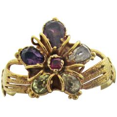 Antique Multi-Stone Gold Pansy Ring