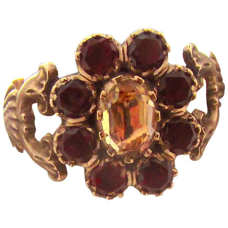 Antique Garnet Topaz Gold Cluster Ring For Sale