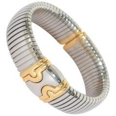 Bulgari Stainless Steel Gold Parentesi Tubogas Cuff Bracelet