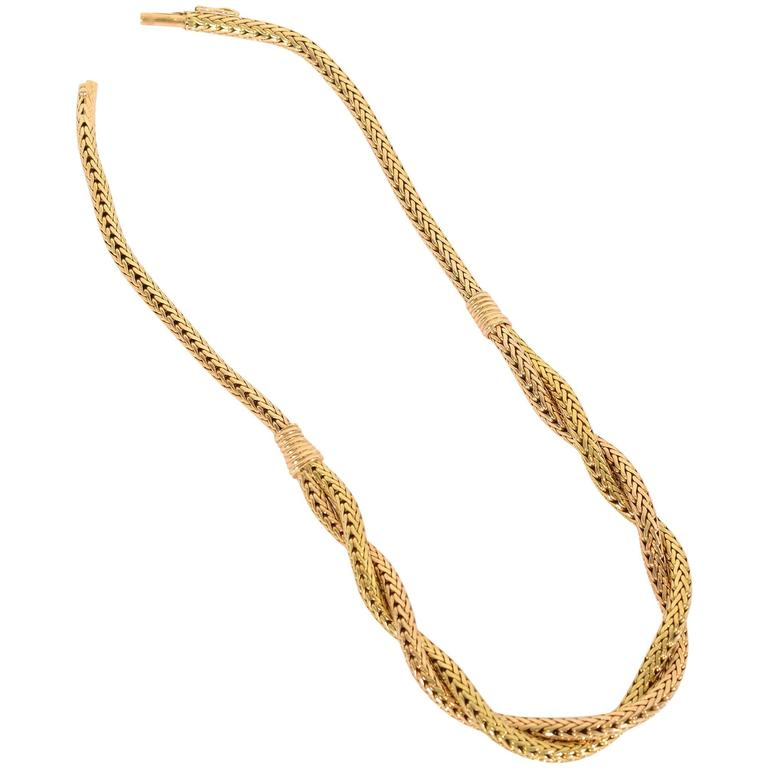 Retro Two Color Gold Herringbone Necklace For Sale