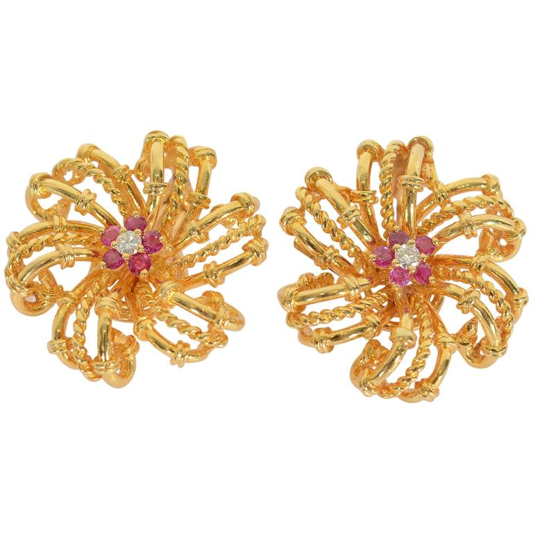 Tiffany & Co. Ruby Diamond Gold Swirling Star Earrings  For Sale
