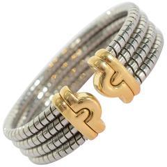 Bulgari Stainless Steel Gold Tubogas Cuff Bracelet