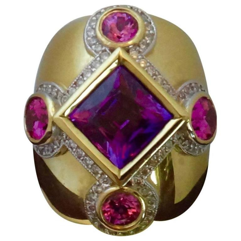 Michael Kneebone Purple and Pink Spinel Pave Diamond Gold Dome Ring