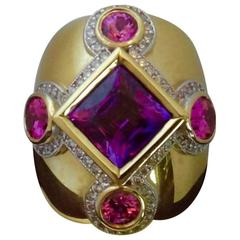 Purple and Pink Spinel Pave Diamond Gold Dome Ring