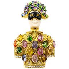 "Fabulous Nardi Venezia Enamel Sapphire Diamond Gold ""Arlecchino"" Brooch Pendant"