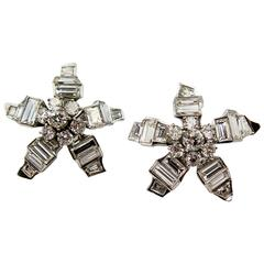 Unusual Diamond Platinum Star Earclips