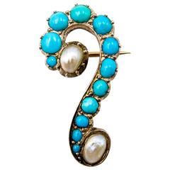 Charming Turquoise Pearl Gold Question Mark Pin