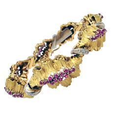 1950s Ruby Diamond Two Color Gold Bracelet