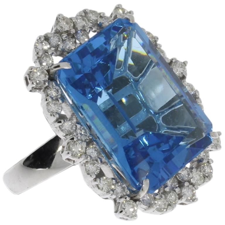 Blue Topaz Diamond Gold Ring  1