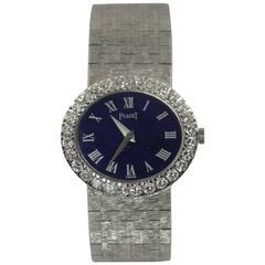 Piaget Ladies White Gold Diamond Lapis Lazuli Dial Roman Numeral Wristwatch