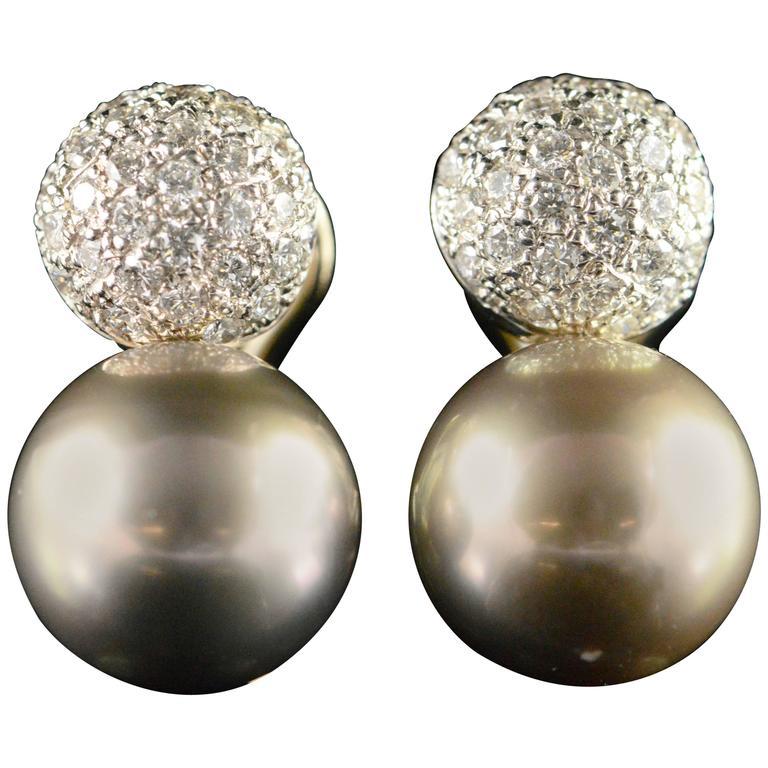 Tahitian Pearl Diamond Accented Gold Earrings