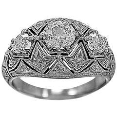Antique .64 Carat 3 Stone Diamond Gold Ring