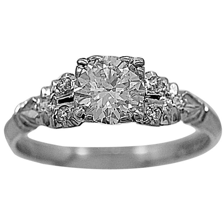 Diamond Rings For Sale Cheap: 1930s .75 Carat Diamond Platinum Engagement Ring For Sale