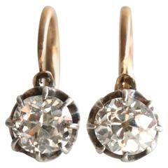 Victorian Old-Cut Diamond Silver Gold Ear Stud Earrings
