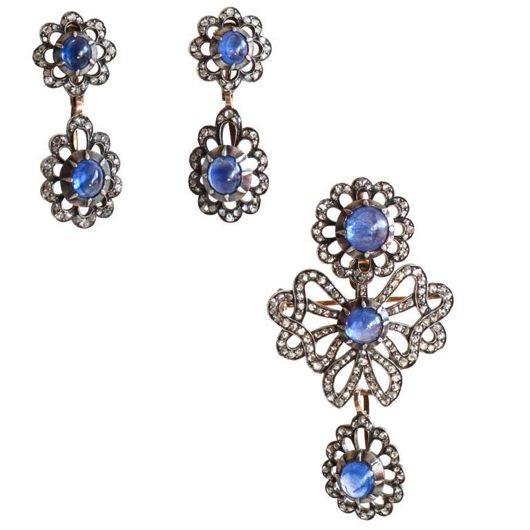 Victorian Sapphire Diamond Silver Gold Earrings Pendant Brooch Set For Sale