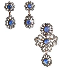Victorian Sapphire Diamond Silver Gold Earrings Pendant Brooch Set