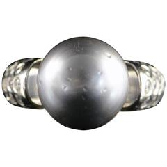 Tahitian Black Pearl Diamond Gold Ring