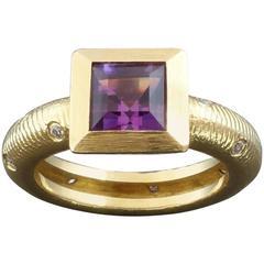 1990s Paul Morelli Amethyst Diamond Gold Ring