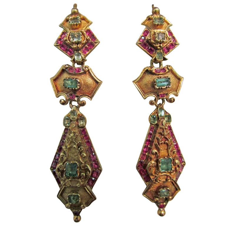 Early Victorian Emerald Ruby & Gold Drop Earrings