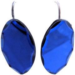Antique Vauxhall Bristol Blue Beveled Glass Drop Earrings, C1860