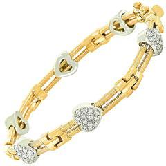 Diamond Heart & Gold Bracelet 14k c1980s